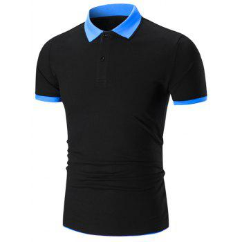 Double Layers Collar Polo Shirt - BLACK AND BLUE BLACK/BLUE