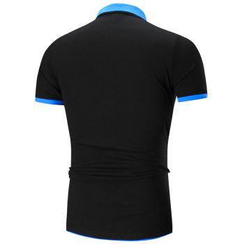 Double Layers Collar Polo Shirt - BLACK/BLUE BLACK/BLUE