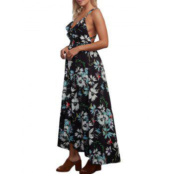 Floral Chiffon Backless Crisscross Maxi Slip Dress - BLACK BLACK