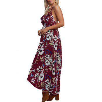 Floral Chiffon Backless Crisscross Maxi Slip Dress - WINE RED WINE RED