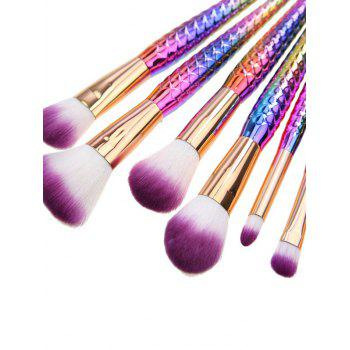 7 Pcs Fish Scale Mermaid Makeup Brushes Set - RED / PURPLE / BLUE / GREENYELLOW