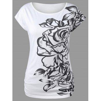 Scoop Neck Graphic Design Scrunch T-Shirt