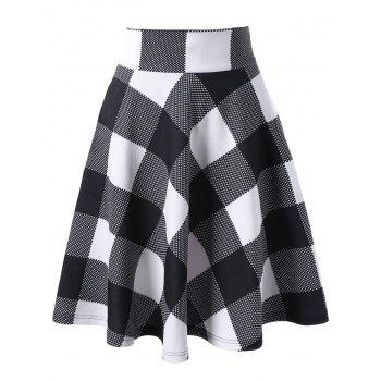 Zippered High Waisted Checked Skirt