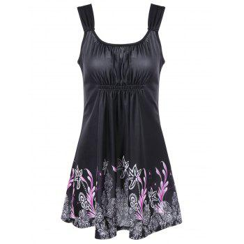 Floral Scrunch Ruched Tankini Set - BLACK BLACK