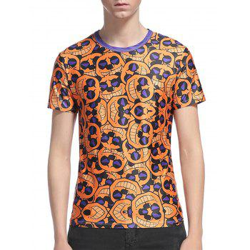 Cartoon Face Print Short Sleeve T-Shirt