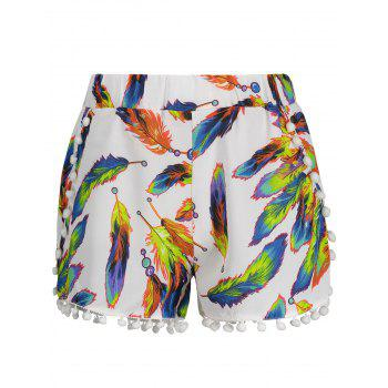 High Waist Leaves Print Tassels Shorts