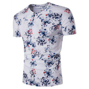 Cotton Linen Pan Kou Design Florals Print T-Shirt