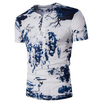 Pan Kou Design Wash Painting Print Cotton Linen T-Shirt