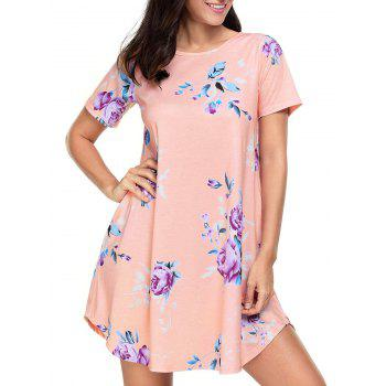 Pockets Floral Short Junior T-Shirt Dress