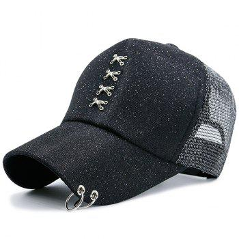 Metal Cross Rings Mesh Spliced Baseball Hat