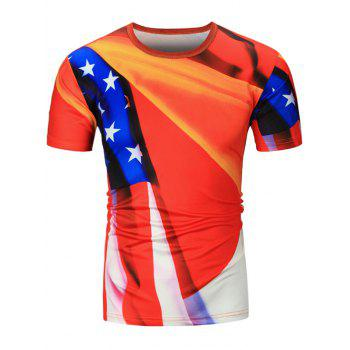 American Flag Printed Short Sleeve Tee