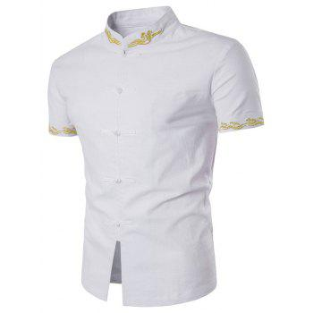 Floral Embroidered Mandarin Collar Short Sleeve Shirt