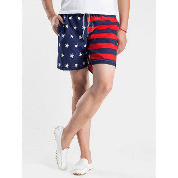 Stripes and Stars Print Drawstring Board Shorts