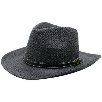 Detachable Artificial Leather Belt Woven Straw Hat