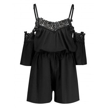 Lace Insert Cold Shoulder Summer Romper
