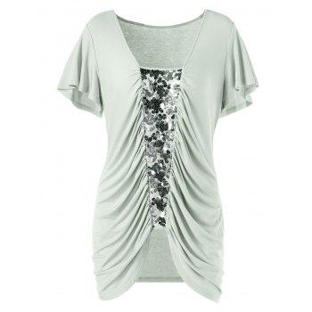 Plus Size Sequined Insert Ruched T-Shirt - PEA GREEN XL