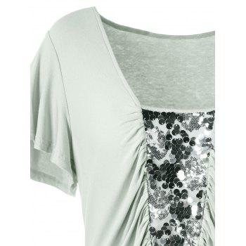 Plus Size Sequined Insert Ruched T-Shirt - PEA GREEN 2XL