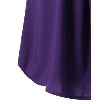 Plus Size Curved Two Tone Tank Top - PURPLE PURPLE