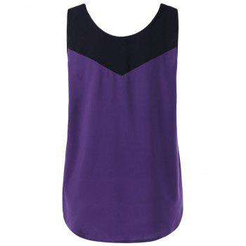 Plus Size Curved Two Tone Tank Top - PURPLE 3XL