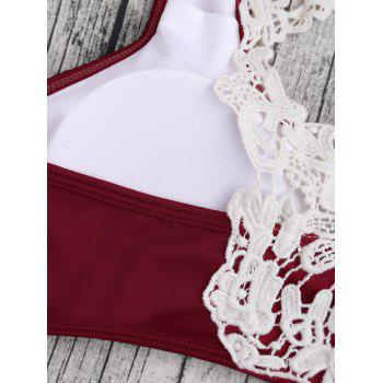 Crochet Panel Padded Bikini Set - BURGUNDY BURGUNDY