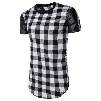 PU Leather Panel Plaid Side Zip Up Longline T-Shirt