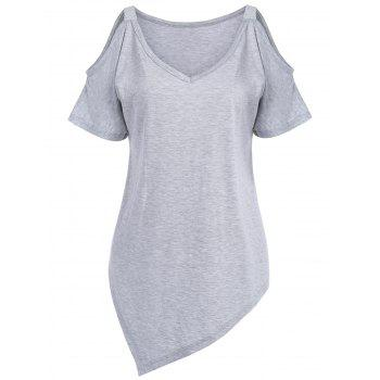 Plus Size Long V Neck Asymmetric Open Shoulder T-Shirt - GRAY 4XL