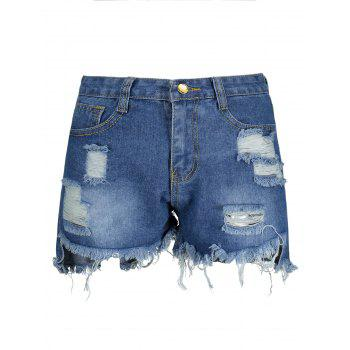 High Waisted Ripped Denim Shorts