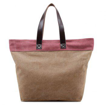Canvas Contrast Color Shoulder Bag