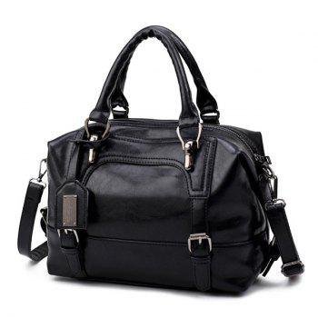 Buckle Straps PU Leather Handbag - BLACK