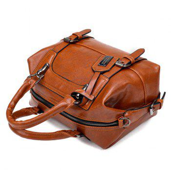 Buckle Straps PU Leather Handbag -  BROWN