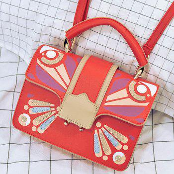 Cross Body Butterfly Printed Handbag -  RED