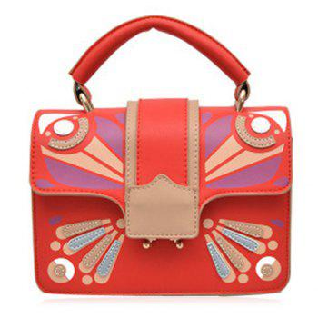 Cross Body Butterfly Printed Handbag - RED RED