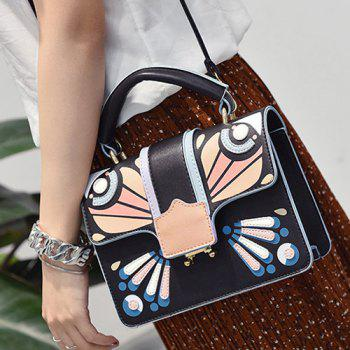 Cross Body Butterfly Printed Handbag -  BLACK