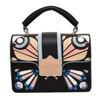 Cross Body Butterfly Printed Handbag - BLACK BLACK