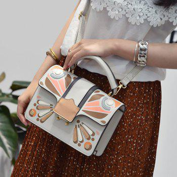 Cross Body Butterfly Printed Handbag -  GRAY