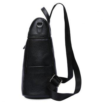 Faux Leather Front Zips Backpack Set - BLACK