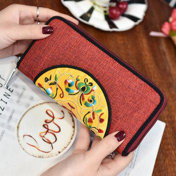 Zip Around Ethnic Embroidery Wallet -  RED
