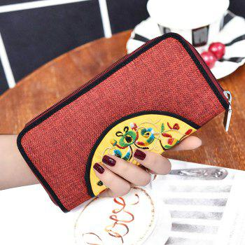 Zip Around Ethnic Embroidery Wallet - RED RED
