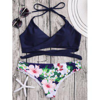 Halter Push Up Wrap Ensemble de bikini floral