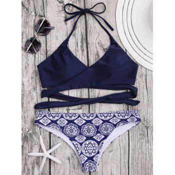 Halter Patterned Wrap Bikini Set
