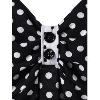 Plus Size Polka Dot Button Embellished Vintage Tank Top - BLACK XL