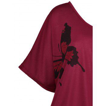 Plus Size Cold Shoulder Butterfly Print Top - DEEP RED 5XL