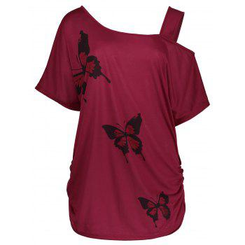 Plus Size Cold Shoulder Butterfly Print Top - DEEP RED 4XL