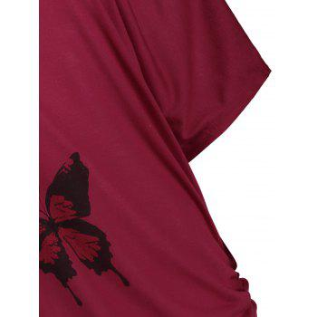 Plus Size Cold Shoulder Butterfly Print Top - DEEP RED 3XL
