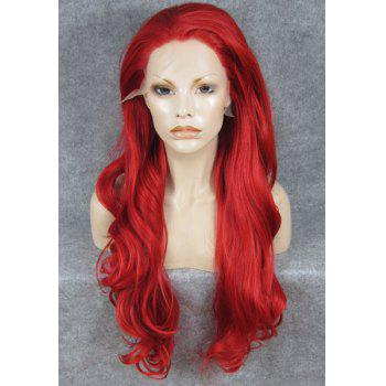 Trendy Fluffy Elegant Red Long Wavy Heat Resistant Synthetic Women's Lace Front Wig
