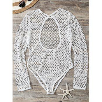 Openwork See-Through Bodysuit Cover Up - WHITE WHITE