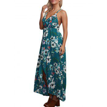 Floral Chiffon Backless Crisscross Maxi Slip Dress - GREEN XL