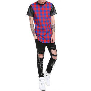PU Leather Panel Plaid Side Zip Up Longline T-Shirt - BLUE 2XL