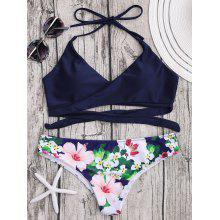 Halter Push Up Wrap Floral Bikini Set
