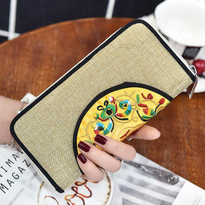 Zip Around Ethnic Embroidery Wallet - KHAKI